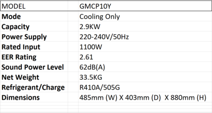 GMCP10Y Aircon Product Specification